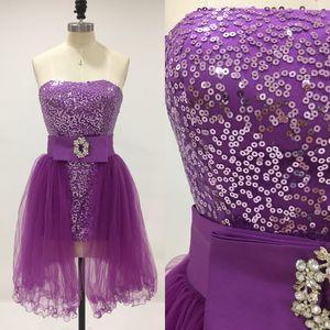 Barato corto vestido de fiesta con falda extraíble columna de la envoltura Strapless lentejuelas vestidos de baile Tul extraíble falda en púrpura