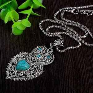 Wholesale-Double Heart Green Turquoise Stone Pendant Necklace Tibetan Silver Women's Crystal Fashion Necklace Jewelry Free Shipping