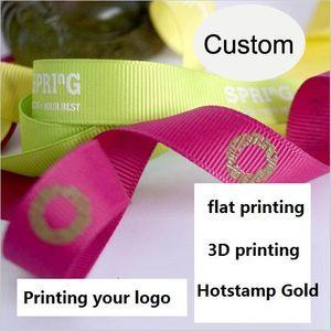 롤 100 야드 스레드 벨트 사용자 정의 로고 DIY Grosgrain 리본 벨트 플랫 글꼴 / 3D 인쇄 / 철 골드 웨딩 맞춤 선물 포장 패키지