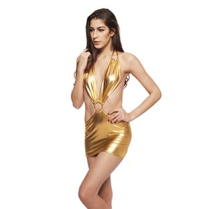 Sexy Gold Women Dress Shiny Metallic Backless Halter Neck Swimwear Night Party Dress Sleeveless Beach Swimdress