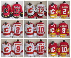 Erkekler 12 Jarome Iginla Jersey Calgary Flames 2 Al Macinnis 9 Lanny McDonald 10 Gary Roberts Vintage CCM Dikişli Hokeyi Formalar