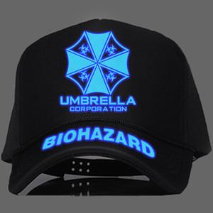 الشر المقيم مظلة شعار سائق شاحنة قبعات البيسبول Biohazard مظلة شركة قابل للتعديل Snapback قبعة تأثيري مضيئة