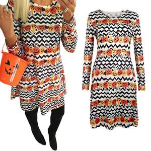 Filles Femmes Pumpkin Dress Halloween Thème Imprimé pour Halloween Party Cosplay Costume Robe Vêtements 2017 Nouveau