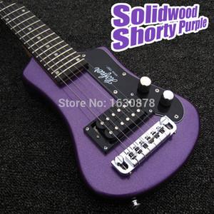 코튼 공연 가방 사용자 정의 금속 퍼플 왼쪽 손 호프 너 쇼티 여행 기타 Protable 미니 전기 기타를 쉽게 촬영