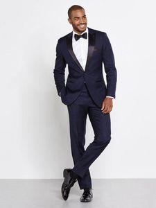 2017 Erkekler Donanma Smokin Iki Parçalı Tek Düğme Suits Tepe Yaka Saten Custom Made Düğün Damat Slim Suits Yüksek kalite