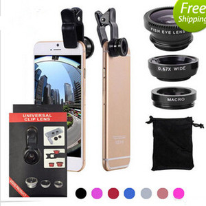 3 in 1 Universal Clip Camera Mobile Phone Fish Eye + Macro + Grandangolare per iPhone 7 Samsung Galaxy S8 con confezione retail