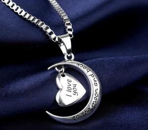 Lettera Crescent Silver Moon fascino del cuore di donne I Love You e tornati dalla Luna Jewelry argento 925 ciondolo collana moda per Lady regalo di Natale