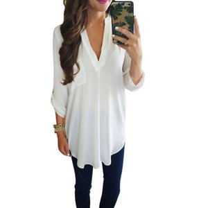 WEIXINBUY 2017 Женская мода свободные три четверти рукав блузка повседневная V-образным вырезом белый зеленый блузка рубашка топы S-3XL K3