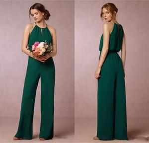 Ucuz 2017 Koyu Yeşil Akış Şifon Gelinlik Modelleri Zarif İmparatorluğu Bel Pantolon Takım Elbise Onur Törenlerinde Düğün Konuk Elbise