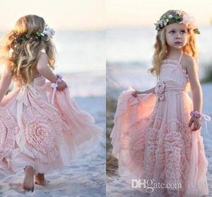 Pembe Bir Çizgi Çiçek Kız Elbise Dantel Aplike Ruffles Çocuklar Resmi Giyim Kolsuz Long Beach Kızlar Yarışması Gowns