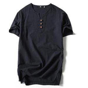 Camiseta de estilo chino para los hombres de verano más el tamaño flojo de algodón de manga corta v cuello camiseta para hombres de moda poloshirt camisa hombres envío gratis
