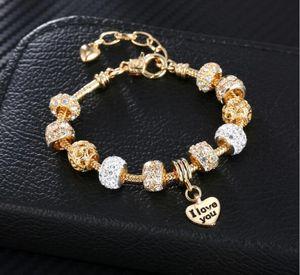 bracciali e braccialetti con ciondoli eleganti per donna, bellissime perline per bracciale, ciondoli per regali ciondoli catene di braccialetti, catena placcata oro champaign