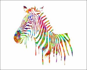Zebra coloré, peint à la main moderne beaux animaux de bande dessinée Art peinture à l'huile, décor mural maison sur toile de haute qualité