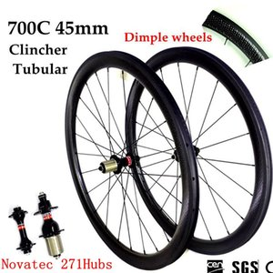Dimple Wheels 전체 탄소 도로 자전거 바퀴 700C 45mm 깊이 Clincher 관형 바퀴 Novatec 271hubs 20/24 스포크