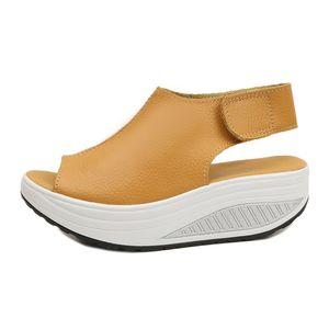Sandálias de verão mulheres agitar sapatos grossas cunhas plataforma de inclinação sandálias de couro cabeça mulheres fundo grosso Higt calcanhar sapatos. MQSS-013