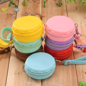 Wholesale- Macarons Small Wallets Candy Color Portable Round Coin Case Fashion Silicone Zipper Earphone Purse Wholesale Mini Change Pockets