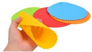 coloré résistant à la chaleur silicone Table ronde Tapis napperon das Set 4 couleurs OD 19.5CM14.5cm choisir pour outil de cuisine Utilisez golves