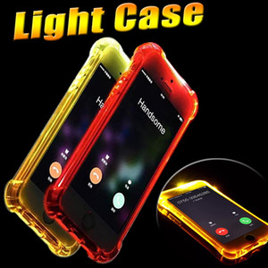 LED Flash Light Up Lembre caso cobrir TPU de chamadas de entrada suave para o iPhone 11 Pro Max XS XR X 8 7 6 6S Mais 5 Samsung Galaxy S9 S8 Nota 9 A8 A9