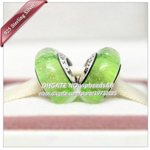 5 pcs S925 Sterling Silver Handmade jóias Verde fluorescente Contas de Vidro Murano Fit DIY Europeu Pandora Charm Bracelets Colar 314