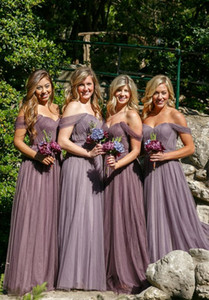 Gelinlik Modelleri 2017 Için Ucuz Uzun Düğün Konuk Elbise Mor Tül Kapalı Omuz Artı Boyutu Parti Altında Onur Törenlerinde Hizmetçi 100