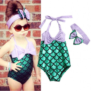 Atacado-2PCS Crianças Meninas Sereia Swimsuit Set Bikini Bow Headband Swimwear Traje Swim