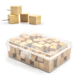 100Pieces cuadrados madera madera push pins pulgar tachuelas decorativas para corcho tablas mapa fotos calendario con caja