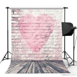 5x7ft vinilo rojo amor corazón pared de ladrillo piso de madera fotografía estudio telón de fondo