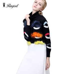 Wholesale-European Style 2016 New Arrive Autumn Pullover Women Star Style Turtleneck Six Eye Monster Real  Fur Knitting Female Sweater