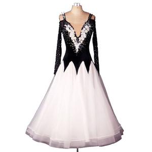Конкурсные платья для бальных танцев Стандартные танцевальные платья Foxtrot D0257 Стразы с длинным рукавом Вышитые аппликации Big Sheer Hem