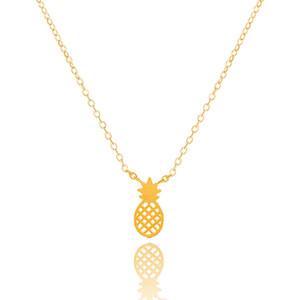 Atacado-DIANSHANGKAITUOZHE Ouro Prata Rose Gold Charme Cadeia Corpo Abacaxi Colar de Pingente de Aço Inoxidável Ananas Jóias Para As Mulheres