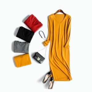 Wholesale- Abito lungo da donna in maglione Pullover solido con scollo a V Abito lungo invernale lavorato a maglia lungo 2016 Nuovo