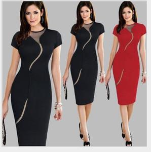 Сексуальный черный красный сетчатый шею круглым вырезом с коротким рукавом платья длиной до колен карандаш Bodycon одежда