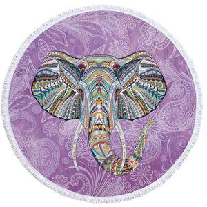 Round beach towel printed superfine fiber round beach towel tassel India elephant models, can be picnic mats