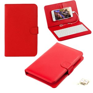 8 Colors Leather Case with USB Keyboard for Most Android System Mobile Phone Flip Cover with Stand Mini USB Wired Keyboard