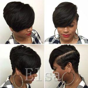 Corte corto Ninguno Lace Human Bob Pelucas Mejor peluca barata brasileña humana con pelucas sin glúteo para bebés con flequillo para mujeres negras