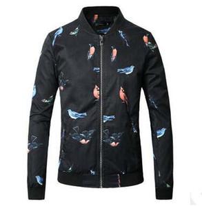Oversize Çince Style Ceket Kuş Baskılı İnce Ceket Kaban Erkek Standı Yaka Beyzbol Üniforma Tide Tasarım Moda Ceketler