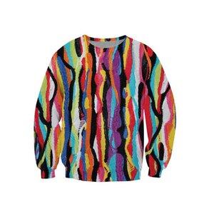 All'ingrosso-Nuovo creativo strisce colorate 3D Printing felpa uomo unisex di Hip Hop Moda Tuta Uomini Sportswear Pullover Casual