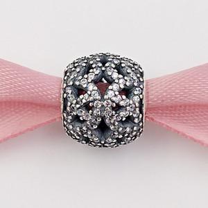 Authentisches 925 Sterlingsilber-Perlen funkelnde durchbrochene Spitze Charm Charms Passt Europäische Pandora Style Schmuck Armbänder Halskette 791284CZ