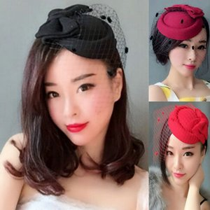 Женщина головной убор волосы дамы ретро вуаль церемония шляпа головной убор лук кружева шерсть партии авиакомпания стюардесса маленькая шляпа головной убор шпилька