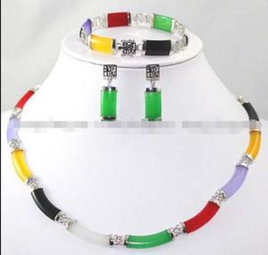 Os brincos multicoloridos do bracelete da colar da relação do jade ajustaram a categoria superior
