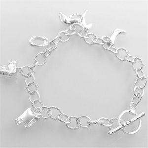 925 de prata esterlina charme pulseiras pulseira pendurado cavalo pulseira para anel de cadeia de mulheres declaração de jóias de presente de natal
