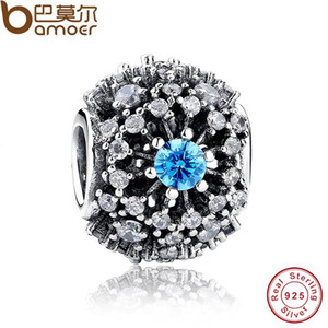 Wholesale-100% Saf 925 Ayar Gümüş Külkedisi'nin Dilek Mavi Kristal Boncuk Charm fit orijinal Bilezikler Takı Aksesuarları PAS179