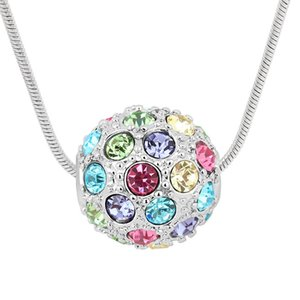 fashion shamballa ball design multicolor beads pendant necklace Made with Czech crystals best Christmas jewelry gift for women