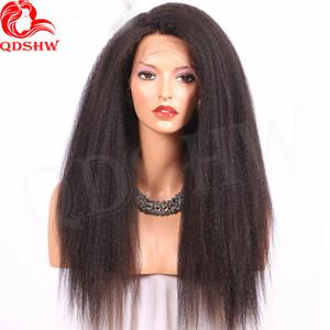 Humano Lace cabelo Frente Perucas Kinky Hetero Virgin U brasileira Parte Perucas Glueless 360 Full Frontal Lace Wigs Pré arrancado com o cabelo do bebê