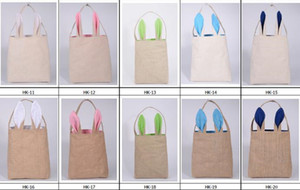 New 10styles Cotton Linen Easter cute Bunny Ears Basket Bag For Easter Gift Packing Easter Handbag For Child Fine Festival Gift