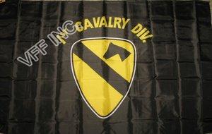 Nous armée 1st première cavalerie Division BlacUS armée 1st première cavalerie Division noir drapeau 3ft x 5ft polyester bannière volante 150 * 90 cm drapeau personnalisé