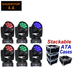 Musician's Gear Rack Flight Case 6 Space Black 6XLOT TP-PL6W5 7x12W RGBW Color 4IN1 LED Zoom Moving Head Washer Stage Lighting