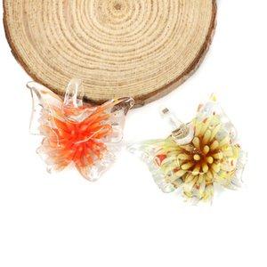 lampwork murano verre papillon pendentif intérieur fleur papillon 3D pendentifs pour collier avec mélanger les couleurs 12pcs / pack MC0054