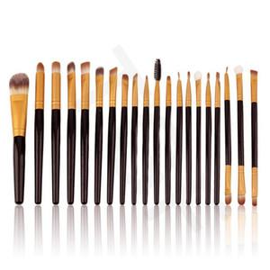 DHL tarafından 50 setleri Profesyonel 20 adet / takım Makyaj Fırçalar Set Pro Pudra Allık Vakfı Göz Farı Eyeliner Dudak Altın Kozmetik Fırça