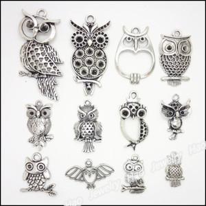 Mixed 48 pcs Vintage Charms Owl Pendentif Antique argent Fit Bracelets Collier DIY Métal Fabrication de Bijoux